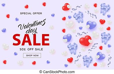 Valentines Day Sale banner with hearts and ribbon bows on pastel blue background.