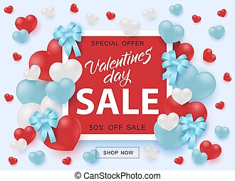 Valentines Day Sale banner with sign on red shape surrounded by hearts and ribbon bows.