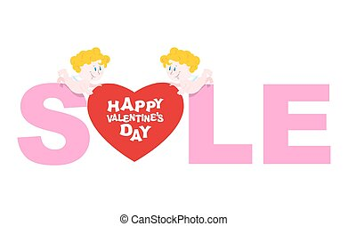 Valentines day sale. Cupid holding a heart. Discounts to shop during holidays. Emblem for storefront.
