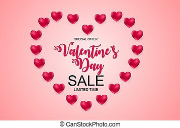Valentines Day Sale, Discont Card. Vector Illustration....