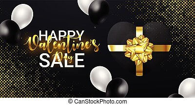 Valentines Day SALE lettering with Gift Box with gold Bow and falling Balloons. For shopping and web poster, add, article, flyers, banners.