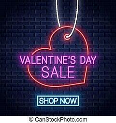 Valentines day sale neon banner. Valentines heart