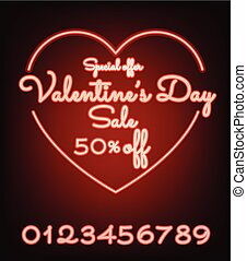 Valentines day sale neon light web banner of valentine sale promotion