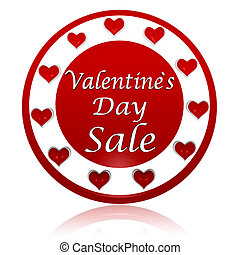 valentines day sale red circle banner with hearts symbols -...
