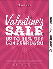 Valentine's Day Sale. Vintage comics retro Background With Hearts