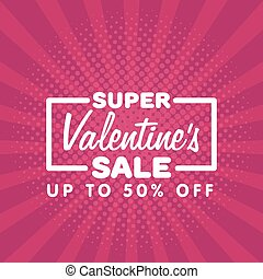 Valentine's Day Sale Vintage comics retro Background With Hearts