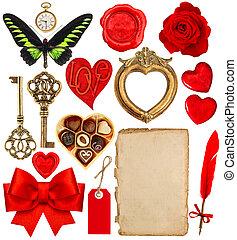 Valentines Day scrapbook. Paper pen, red hearts, golden frame