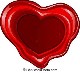 Valentine`s day sealing wax in heart shape
