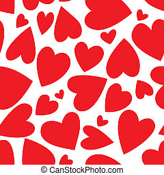 Valentine's Day Seamless Background of Red Hearts isolated on white background, Vector