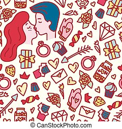 Valentine's Day seamless doodle style pattern. Hand drawn love concept.