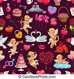 Valentines day seamless pattern, February 14