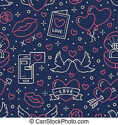 Valentines day seamless pattern. Love, romance flat line icons - hearts, engagement ring, kiss, balloons, doves, valentine card. Red, blue wallpaper for february 14 celebration