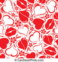 Valentines Day seamless pattern with Hearts, flower and...