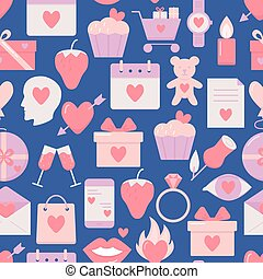 Valentines day seamless pattern with icons in flat style