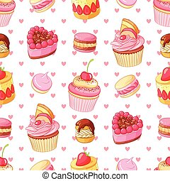 Valentines Day seamless vector pattern with various desserts and hearts.