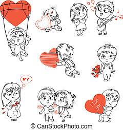 Valentine's Day - Shy little boy hiding behind a bouquet of...