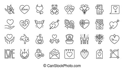 Valentines Day simple black line icons vector set