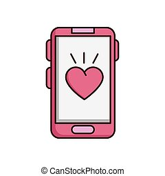valentines day smartphone with heart isolated icon