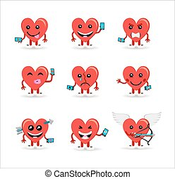 Valentines day social media heart emoji set