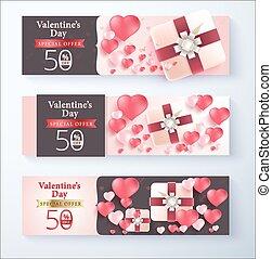 Valentine's day special offer 50% off promotion banner. vector banner design