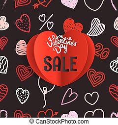 Valentines Day special offer card. Different Valentines day hand-drawn hearts