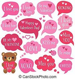 Valentines Day speech bubbles set