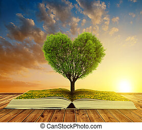Valentines day - Book with a tree in the shape of heart at...