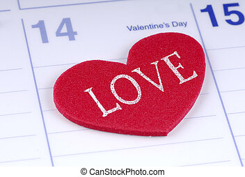 Valentines Day - Photo of a Calendar With a Heart on...