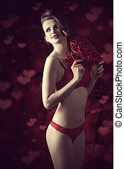 Valentines day - Charming, brunette woman in valentines...