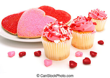 Valentines Day sweets - Valentines Day cupcakes with heart...