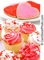 Valentines Day sweets - Plate of Valentines Day cupcakes...
