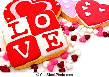 Valentines Day sweets - Group of Valentines Day cookies and...