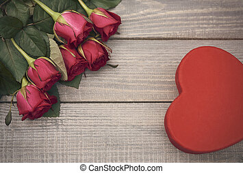 Valentines day symbols in the corners