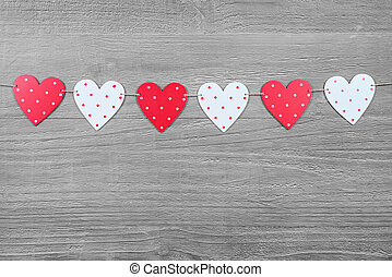 Valentines Day hearts on vintage wooden background as Valentines Day symbol