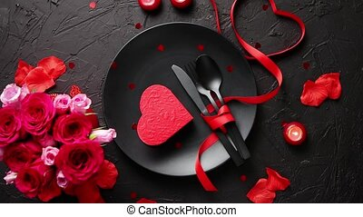 Valentines day, table setting and romantic dinner concept....