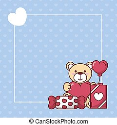 Valentines day teddy bear with heart balloon and candy vector design
