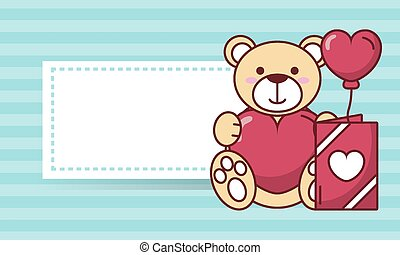 Valentines day teddy bear with heart balloon and card vector design