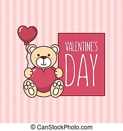 Valentines day teddy bear with heart balloon vector design