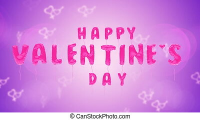 Valentine's day text balloons on purple background