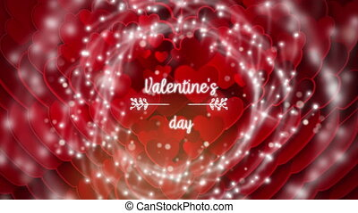 Valentines Day text with hearts on background