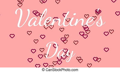 Valentines Day text with hearts on pink background - ...