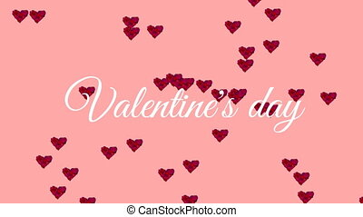 Valentines Day text with hearts on pink background