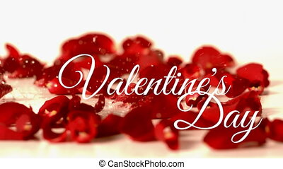 Valentines day text with red flower background and water drop