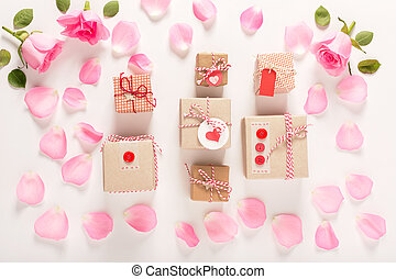 Valentines Day theme with rose petals