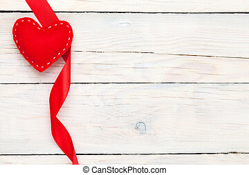 Valentines day toy heart and ribbon