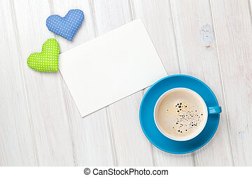 Valentines day toy heart, blank greeting card and coffee cup