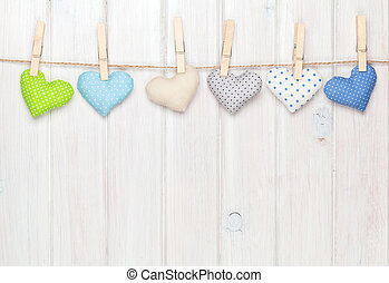 Valentines day toy hearts hanging on rope