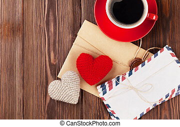 Valentines day toy hearts, letters and coffee