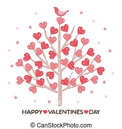 Valentine's day, Tree with heart shaped leaves and a little bird