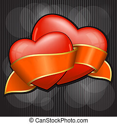 Valentine`s Day two heart with orange ribbon